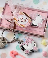 Pink Baby Pram Key Ring Favour